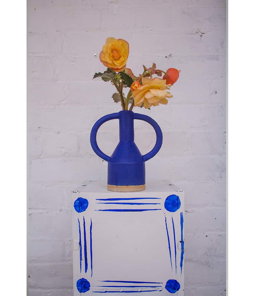 Sophie Alda Blue Handle Vase