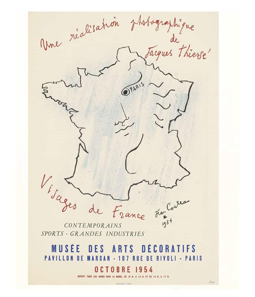 cocteau visages France lithograph